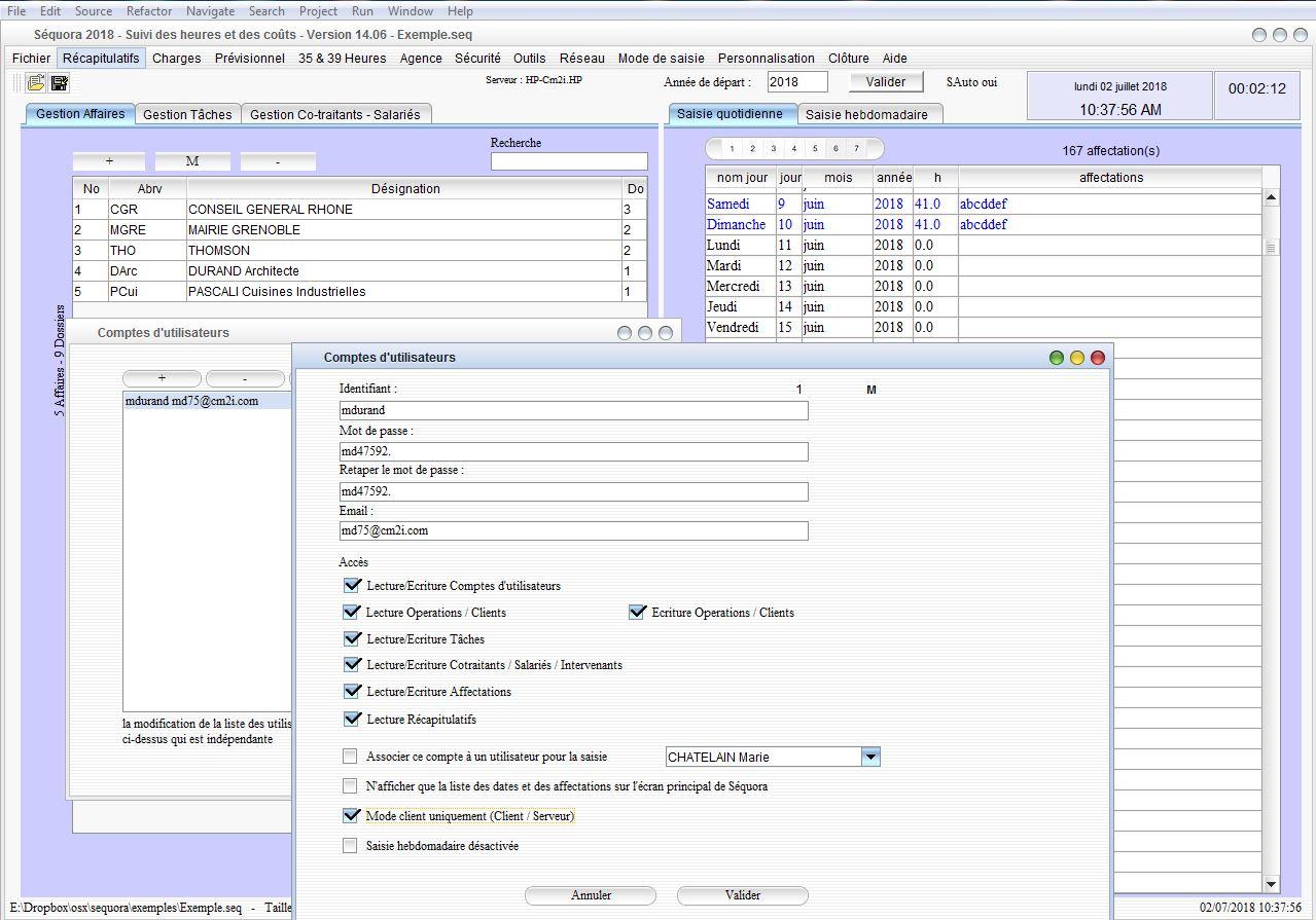 Gestion des comptes utilisateurs du pointage des heures mac et pc v14.06